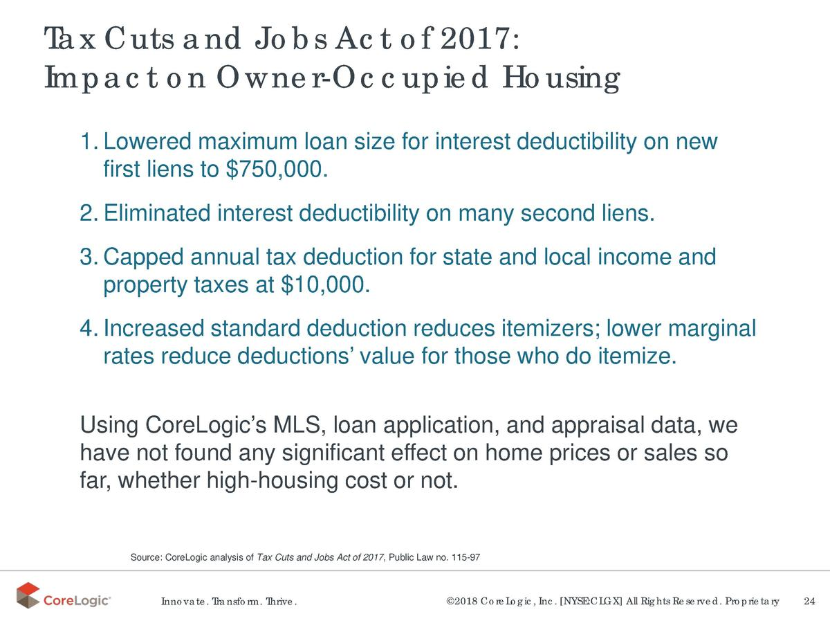 Tax Cuts and Jobs Act of 2017  Impact on Owner-Occupied Housing 1. Lowered maximum loan size for interest deductibility on...
